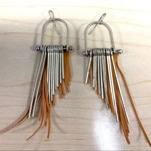 Beautiful Anthropologie metals + leather earrings